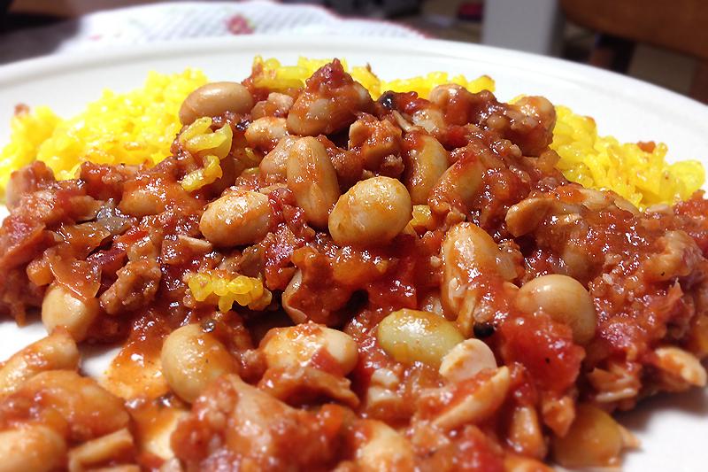 【レシピ】大豆をたっぷり食べれる!ターメリックライスとチリコンカン♪